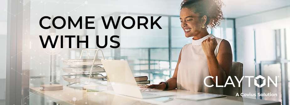 """Graphic of woman in office with text reading, """"Come work with us""""."""